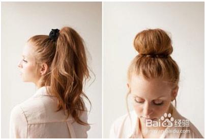 女生好看的蓬松的丸子头发型图片