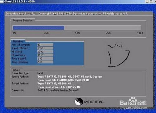 将事先放在大白菜u盘的ghost win8系统添加进来,然后选择e盘为安装盘