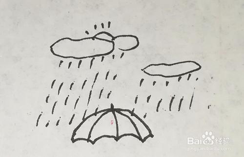 下雨天乌云雨伞行人简笔画怎么画?图片