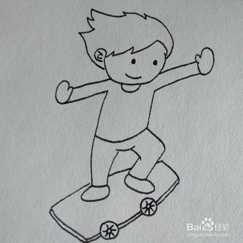 怎么画一个在滑画板的小男孩卡通儿童简笔画教程图片