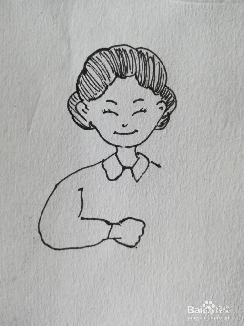 母亲节怎么画拿花的母亲的简笔画