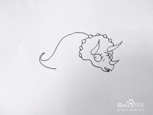 侏罗纪公园中的恐龙-三角龙怎么画?简笔画教程图片