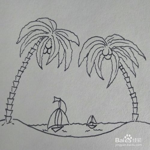 怎么画衣服很美的三亚海边风景卡通儿童简笔画