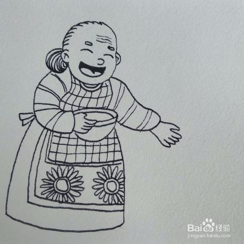 如何画喂小鸡的老奶奶简笔画?