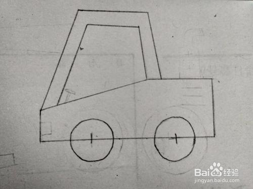 多妈简笔画用几何图形来画一辆工程车挖掘机图片
