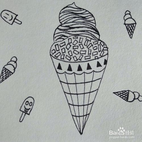 如何画一幅创意冰激凌卡通儿童简笔画?图片