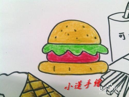 油画棒物品篇1画好吃的汉堡包套餐图片