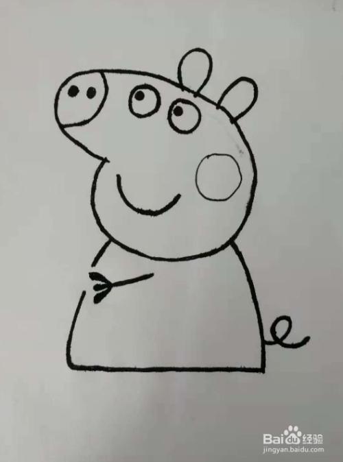 骑自行车的小猪佩奇简笔画怎么画?图片