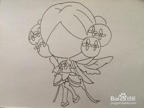 《小花仙》中丁香花精灵王简笔画法图片