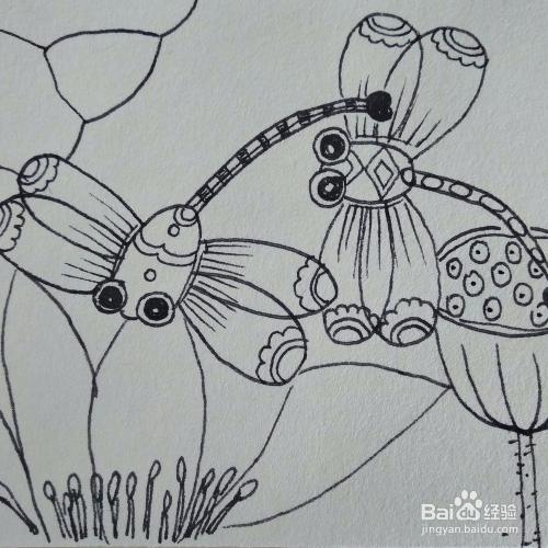 怎么画一个荷花蜻蜓创意儿童简笔画教程?