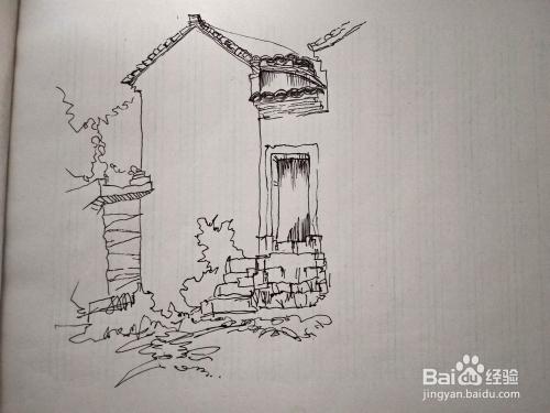 畫老房子建筑風景速寫步驟?