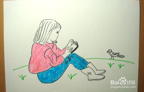 儿童简笔画之动物园看书的女孩图片