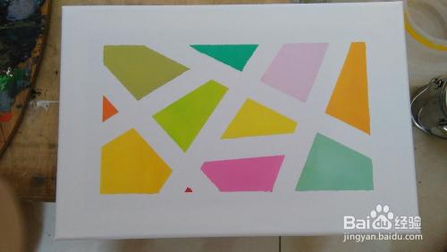 如何用纸胶简单画出一幅油画几何装饰画