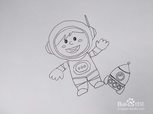 太空中从宇宙飞船中飞出来的太空人卡通简笔画