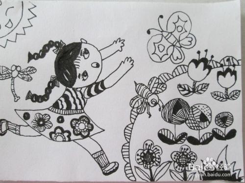 黑白线描画《追蝴蝶的小女孩》的作画步骤图片