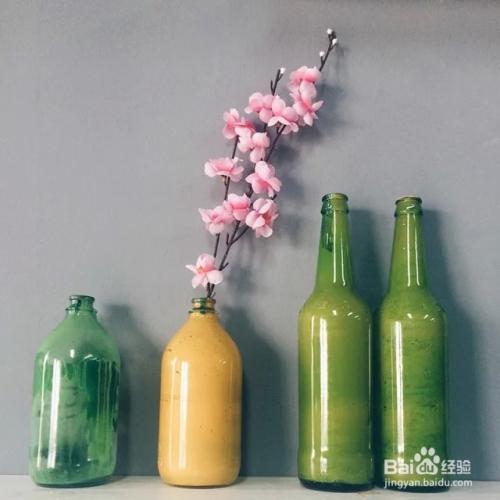 創意diy廢棄玻璃瓶變身漂亮花瓶圖片