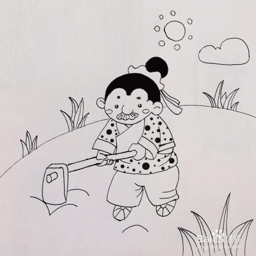 农夫锄地的简笔画_简笔画课堂:锄地的老爷爷