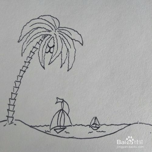 怎么畫衣服很美的三亞海邊風景卡通兒童簡筆畫
