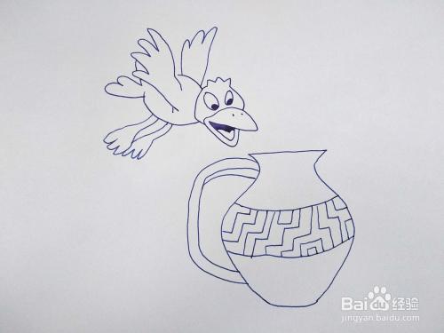 乌鸦喝水的故事怎么用简笔画画出来?卡通简笔画图片