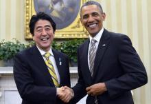 日本の安倍晋三首相とオバマ大統領アメリカ