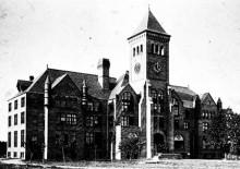 "Duke University in Durham City, the first building ""Duke hall"""