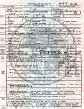 Denver's official death certificate