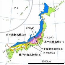 日本の気候分布図