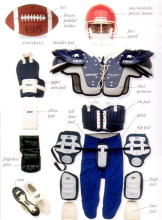 The use of the American football helmet and protective clothing