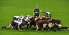 For the rugby ball in the corner (scrum) array of cattle