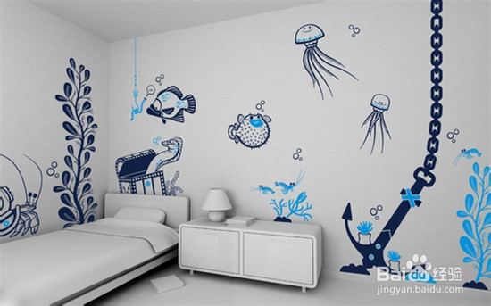 墙面涂鸦洒落家居 靓丽生活即将开帆图片