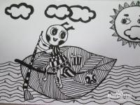 幼儿黑白线描画 小蚂蚁过河