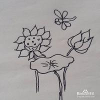 荷花和蜻蜓幼儿亲子简笔画