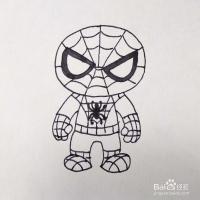 怎么画一个可爱的q版的蜘蛛侠卡通简笔画