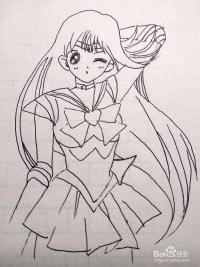 怎么画美少女战士水冰火星火野丽卡通儿童简笔画