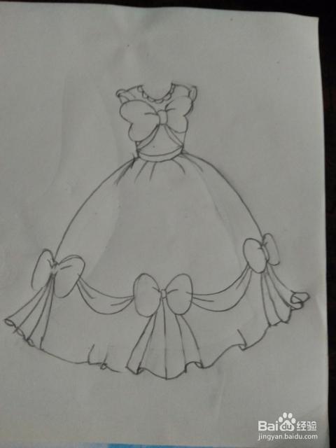 如何画简笔画灰姑娘的公主裙