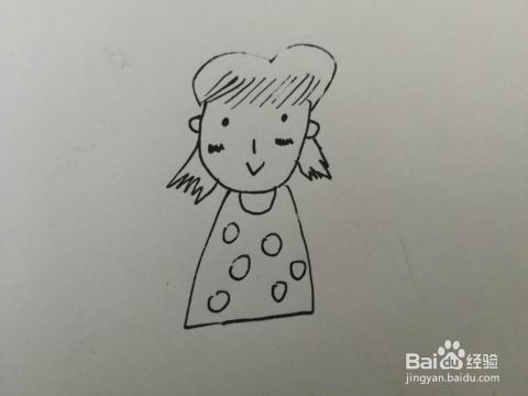 简笔画穿花裙子的女孩子