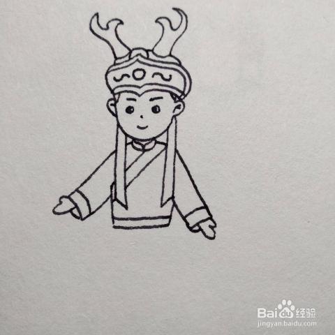 如何画少数民族赫哲族民族服饰卡通儿童简笔画