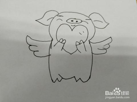 爱心猪猪简笔画怎么画,怎么画会飞的猪