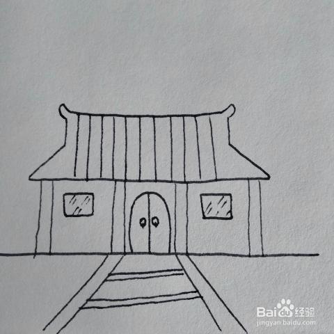 怎么画夜晚出月亮后照亮的庙宇卡通儿童简笔画