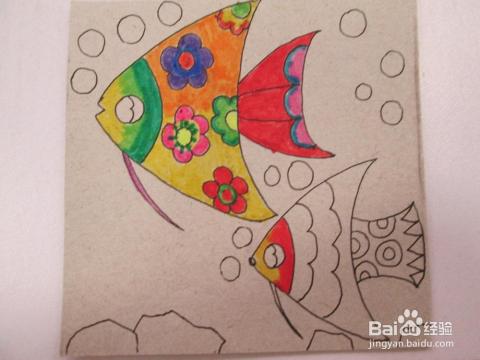 幼儿水彩笔画 热带鱼 的作画步骤