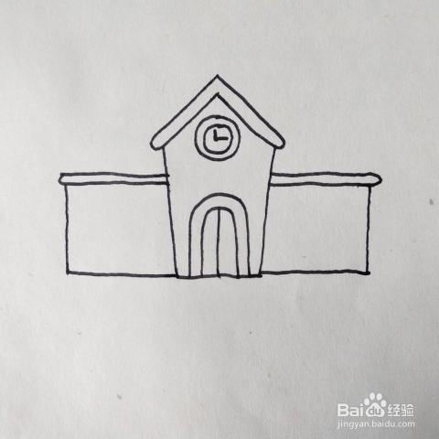 怎么画好看的学校建筑卡通简笔画 儿童画教程
