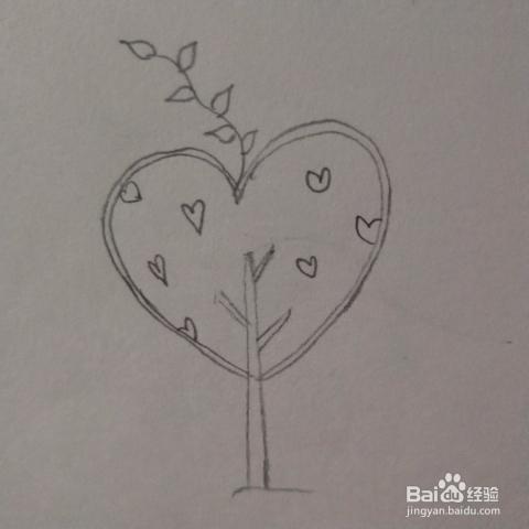 新年爱心树的简笔画
