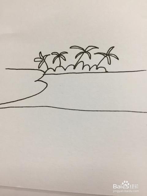海滩风景简笔画