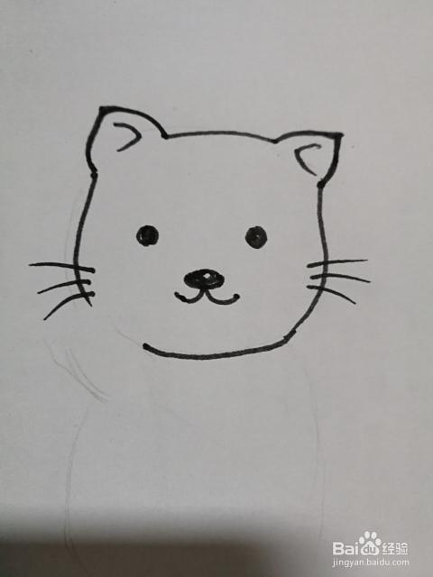 简笔画 可爱的小花猫的画法