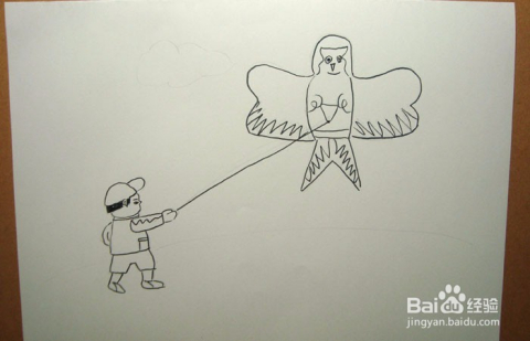 儿童简笔画之放风筝的小男孩