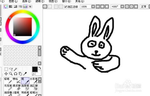Sai软件手绘简笔画逃家的小兔