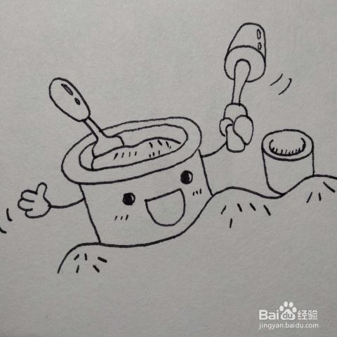 怎么画放在沙滩上的玩具桶套装卡通简笔画