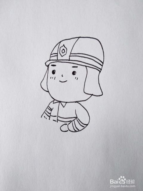怎么画出一位在灭火的消防员卡通简笔画