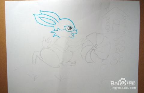 儿童简笔画之小白兔搬运南瓜的场景