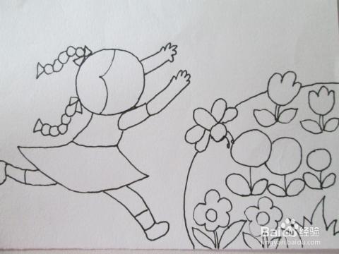 黑白线描画 追蝴蝶的小女孩 的作画步骤